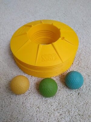 Nerf Indoor Golf Lot of 9 Yellow Replacement Holes Vintage Official + 3 balls