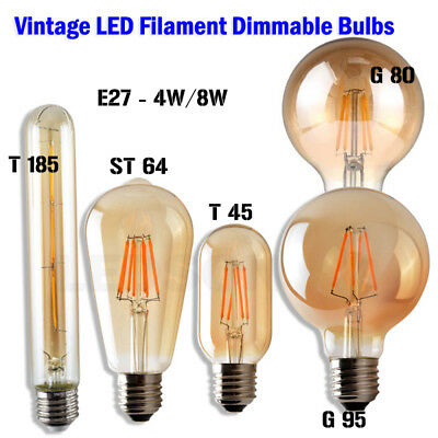 Dimmable Vintage Filament LED Edison Bulb E27/B22 Decorative Industrial Light A+