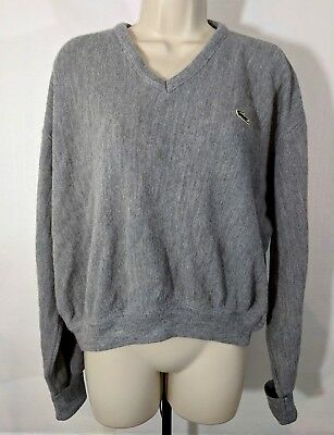 Izod Lacoste Sweater Size XL Mens Gray V Neck Acrylic Long Sleeve Vintage