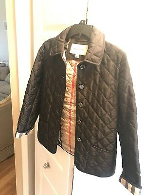 Burberry Girls 10y Jacket Quilted Coat Black Nova Checks Kids