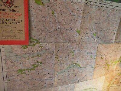 Glen Shiel-Glen Garry-Inverness Shire 1927-47 Vintage Scottish Os Map-War Period