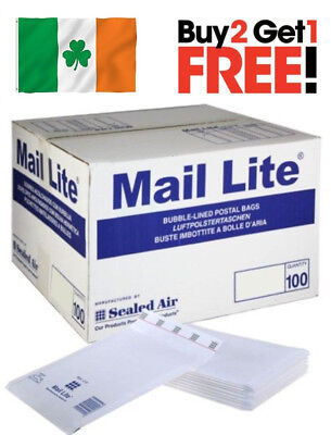 100 X C/0 Mail Lite Padded Envelopes Sealed Air Bubble Lined White 150mm x 210mm