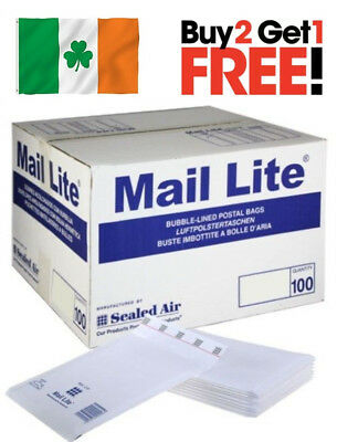 50 X Mail Lite J/6 Padded Envelopes Sealed Air Bubble Lined White 300mm x 440mm
