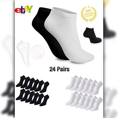 trainer socks black white mens womens 24 pairs ankle liner summer gym invisible