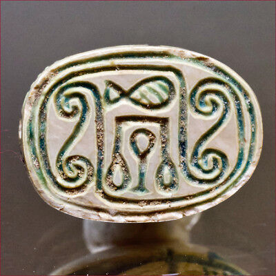 Egyptian scarab with traces of original colour. Hyksos Period. 1650 B.C. 6260