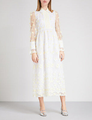 ORLA KIELY White Christabelle Embroidered Dress, RRP£430, BNWT, UK8