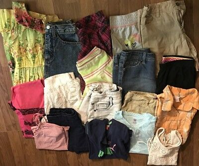 Girls Spring Summer Play Clothes Shorts tanks Sz 10/12 Lot Of 18