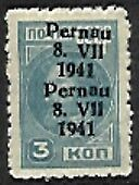 Michel  3A  Pernau 3k type II double overprint MLH