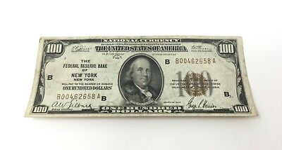 1929 $100 FRBN Federal Reserve Bank of New York-B Note