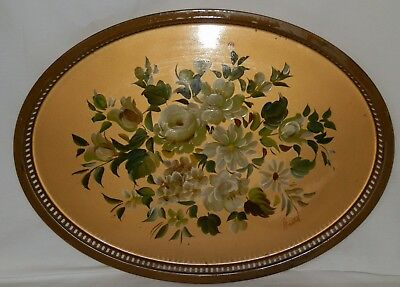 Vintage Large Oval Metal Toleware Serving Tray