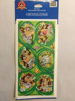 Vintage Hallmark 1997 Looney Tunes Taz Stickers 4 Sheets NIP Made In USA