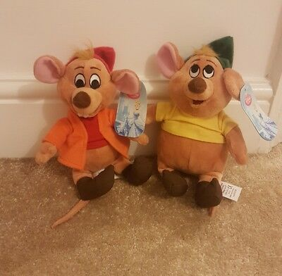Jaq and Gus Gus Tagged Disney Store Authentic Cinderella Plush Soft Toys