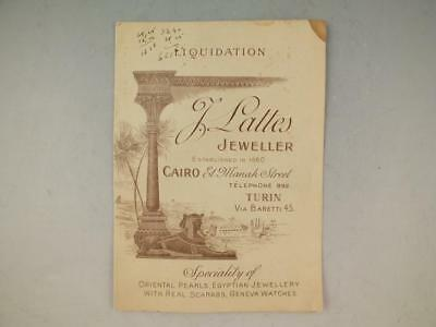 Rare Folding Trade Card With Map For J. Lattes Jeweller Cairo, Egypt