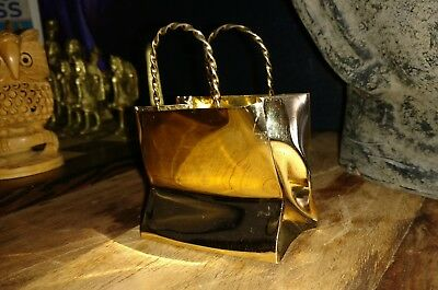 Authentic Rare Cartier Handmade Sterling Silver Gold Plated Shopping Bag