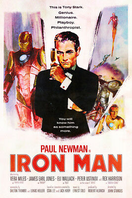 Paul Newman Iron Man | LARGE 24X36 MOVIE POSTER |Premium Poster Paper
