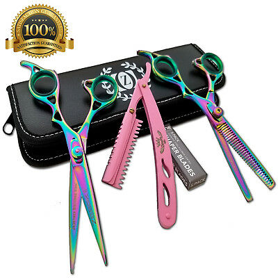 "Hair Styling & Barber Shears Rainbow Titanium 6"" Hairshaper and thinning Scissor"