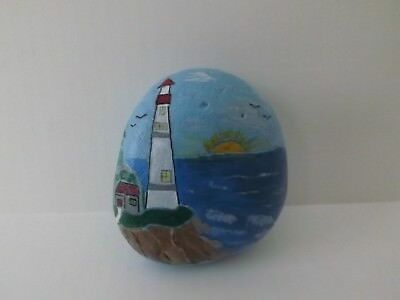 Hand Painted Rock Art Seascape Lighthouse Stone Paperweight