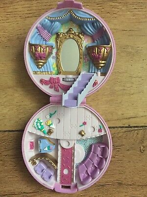 1993 Polly Pocket 'Ballerina' Set Pink Flower compact and figure.