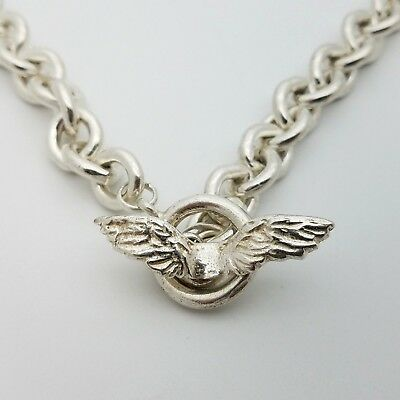 925 Sterling Silver 10'mm Rolo Chain Link Eagle Wing 16' Inch Toggle Necklace
