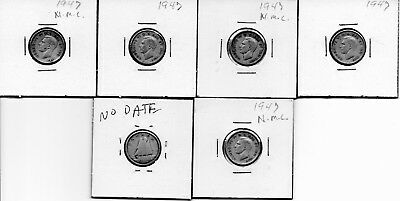 """6 """"1947 Canadian Dimes"""" Appears, No Maple Leaf By The Date (You Decide)"""
