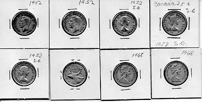 """8 """" CANADIAN DIMES """" 1942,1952, 4-'53's, 2-'68's"""