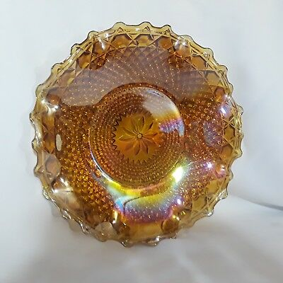 Vintage Marigold Amber CARNIVAL GLASS Plate Dish Scalloped Ruffled Bowl ANTIQUE