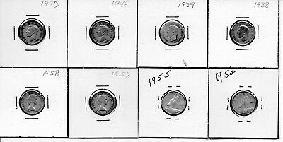 """8 DIFFERENT """"CANADIAN DIMES""""   1938 to 1958"""
