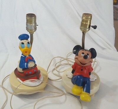 Vintage 1960's Disney Mickey Mouse and Donald Duck lamps