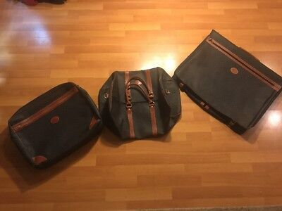 Vintage Longchamp Luggage Set Of 3 Duffel Carry on Suit Traveler Vtg