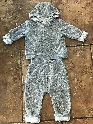 Baby Gap Reversible Boys Girls Unisex Gray Sweat Outfit Pants Jacket 12-18 month
