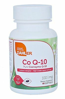 CoQ10 100mg Coenzyme Q10 60 Softgels Ubiquinol Heart Health Supplement ~ Zahler