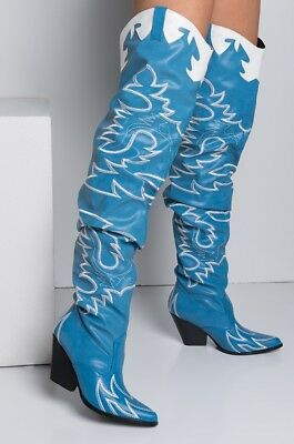 b56b56c1d80 Cape Robbin Kelsey-21 BLUE COWBOY FASHION WESTERN POINTED OVER KNEE THIGH  BOOT