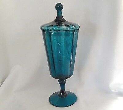 Vintage MCM Empoli Italian Art Glass Covered Apothecary Jar TEAL BLUE Candy Dish