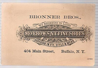 Vintage Victorian Trade Card. Morrow's N.y.fine Shoes, Buffalo, N.y.1884