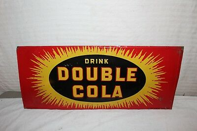 "Vintage 1939 Double Cola Soda Pop Gas Station 28"" Embossed Metal Sign"