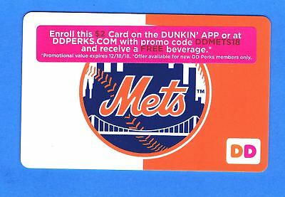 2018 New York Mets Dunkin Donuts $2 Gift Card - Mint