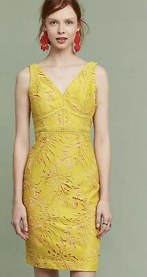 6f8d2be8b59a ANTHROPOLOGIE NWT $168 Gardenia Lace Column Dress by Maeve 00 Petite Yellow  Gold