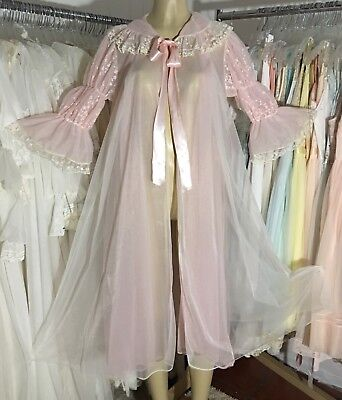 "Dbl Chiffon~38""Bust~46"" Long~Medium~VTG PINK Robe~Wear-as Nightgown~Peignoir"