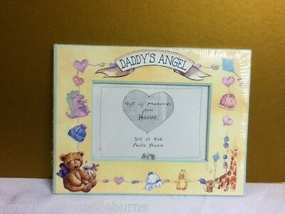 """New """"Daddy's Angel"""" picture frame 3 x 5 or 4 x 6 size opening nursery decor T8"""