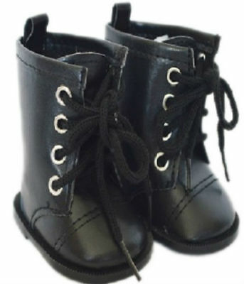 Black Tie Doll Shoes Boots Fits 18 Inch American Girl Doll Clothes