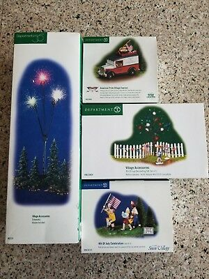 Department 56 Snow Heritage Village Accessories Lot July 4th