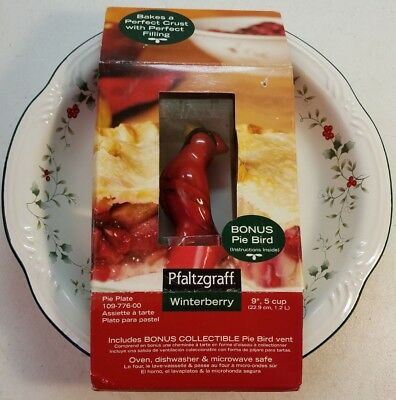 """Pfaltzgraff Winterberry 9"""" Pie Plate With Collectible Red Pie Bird Never Used"""