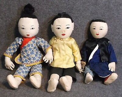 Estate Lot Of 3 Vintage Asian Oriental Cloth Dolls