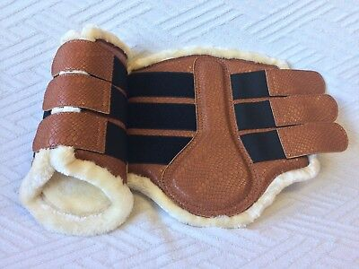 Fleece Lined Brushing Tendon Boots London Tan Dressage Turnout Protection S-Xl