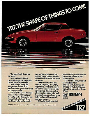 """1976 Triumph TR7 original ad """"The Shape of Things to Come"""" 1975 1975 TR4 TR8"""