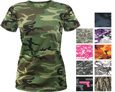 f9a4766a8f2e Womens Long Length Camo T-Shirt Military Army Ladies Girls Short Sleeve Tee