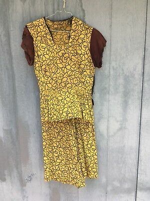 Amazing Vintage 1930s 1940s Dress Peplum Distressed Unique Pattern One of A Kind