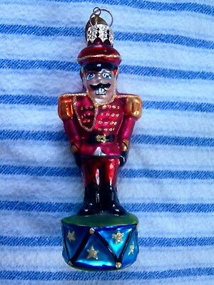 RADKO/STARAD INC glass Christmas ornament soldier in red