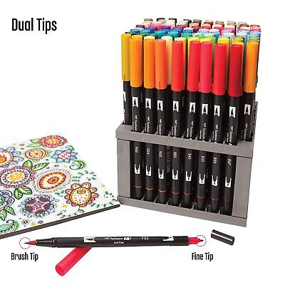 Tombow Dual Brush Pens 96 Set Professional Art Markers with Desk Set Stand.