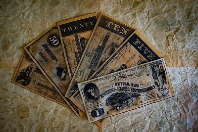 Confederate Currency - Facsimile/Reproduction - Six Paper Bills